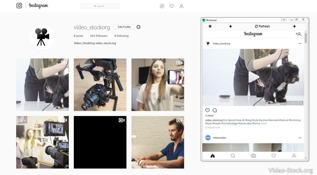 Instagram Windowed on Desktop PC
